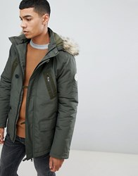 Jack Wills Newton Parka Jacket With Faux Fur Hood In Khaki Green