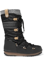 Moon Boot Monaco Felt Lined Shell And Faux Leather Snow Boots Black