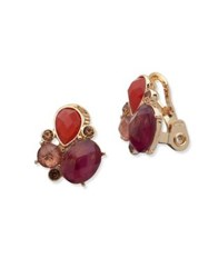 Anne Klein Mother Of Pearl Semi Precious Stone And Crystal Cluster Button Clip On Earrings Red