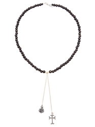 Catherine Michiels Rose And Crucifix Beaded Necklace Brown