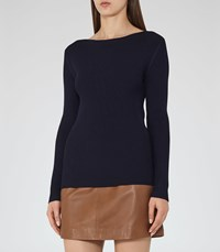 Reiss Nicky Womens Ribbed Knit Jumper In Blue