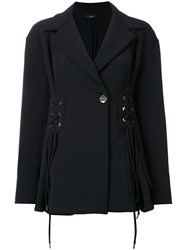Ellery Battleship Lace Up Panelled Jacket Black