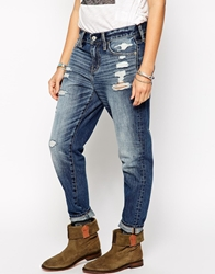 Abercrombie And Fitch Boyfriend Jeans With Distressing Destroyeddark