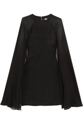 Karl Lagerfeld Cape Effect Stretch Silk Satin And Silk Chiffon Mini Dress Black