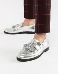 House Of Hounds Archer Loafers In Silver Metallic