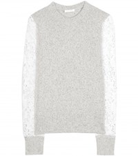 See By Chloe Wool And Crochet Lace Sweater Grey