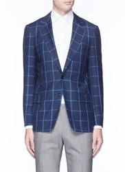 Tomorrowland Windowpane Check Wool Blazer Blue