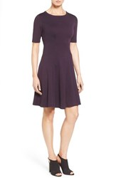Karen Kane Women's 'Michelle' Short Sleeve Fit And Flare Dress Eggplant
