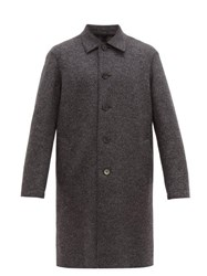 Harris Wharf London Single Breasted Pressed Wool Overcoat Grey