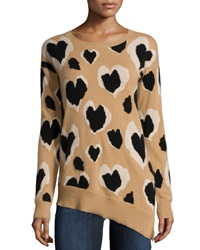 Neiman Marcus Cashmere Heart Leopard Print Tunic Camel Oatmeal Black