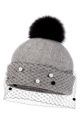 Helene Berman Women's Genuine Fox Fur Pompom Hat