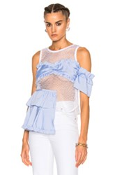 Sandy Liang Cromwell Top In Blue White Blue White