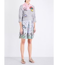 Peter Pilotto Gingham Print Stretch Cotton Shirt Dress Multi
