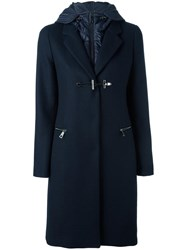 Fay Double Front Hooded Coat Blue