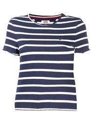 Tommy Jeans Striped Fitted T Shirt Blue