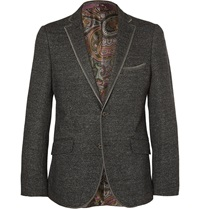 Etro Slim Fit Knitted Wool Silk And Cotton Blend Blazer Gray