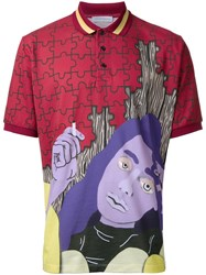 J.W.Anderson Face Print Polo Shirt Scarlet