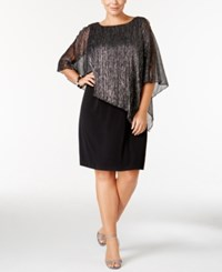 Connected Plus Size Metallic Cape Overlay Dress Black