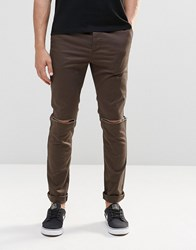 Asos Skinny Cotton Trousers With Knee Rip In Khaki Turkish Coffee Brown