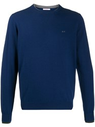 Sun 68 Double Rib Knit Sweatshirt Blue