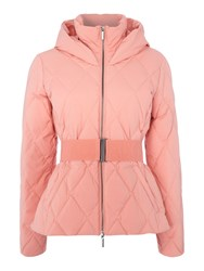 Armani Exchange Hooded Puffer Coat With Belt Pink