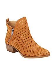 Lucky Brand Perforated Leather Booties Cashew