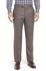 Men's Hickey Freeman Flat Front Solid Wool Travel Trousers
