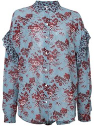 Robert Rodriguez Floral Blouse Women Silk 2 Blue