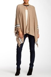 Cullen Buckle Closure Fringe Cashmere Poncho Brown