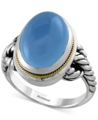 Effy Collection Serenity By Effy Chalcedony 8 1 2 Ct. T.W. Rope Ring In Sterling Silver With 18K Gold Accents Blue