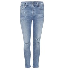 Citizens Of Humanity Rocket Distressed High Rise Skinny Jeans Blue