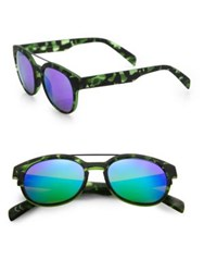 Italia Independent 50Mm Camouflage Round Sunglasses Camo Green