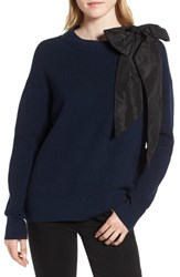 Chelsea 28 Chelsea28 Bow Shoulder Sweater Navy Sapphire Combo