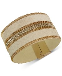 Guess Rose Gold Tone Faux Leather And Crystal Wrap Bracelet