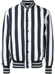 Andrea Pompilio Striped Bomber Jacket Men Cotton Viscose 48 White