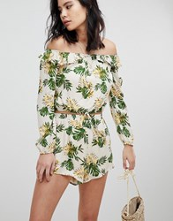 Honey Punch Long Sleeve Crop Top With Off Shoulder Ruffle Co Ord Tropical Print Multi