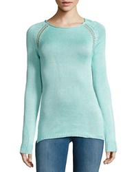 Design Lab Lord And Taylor Knit Roundneck Sweater Mint
