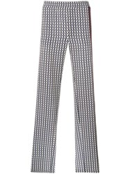 Valentino Chevron Print Trousers Blue
