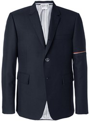 Thom Browne Tri Stripe Detail Shirt Jacket Men Polyester Wool 0 Blue