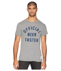 The Original Retro Brand Official Beer Taster Vintage Tri Blend Tee Streaky Grey T Shirt Pewter