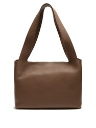 The Row Duplex Small Grained Leather Shoulder Bag Khaki