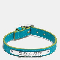 Coach Leather Buckle Plaque Bracelet Silver Turquoise