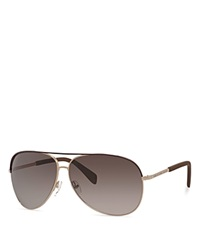 Marc By Marc Jacobs Classic Aviator Sunglasses Brown Gold Brown Gradient