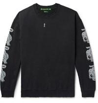 Sasquatchfabrix. Distressed Printed Fleece Back Cotton Blend Jersey Sweatshirt Black