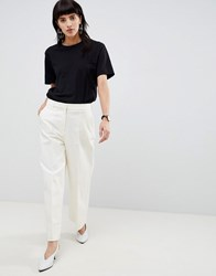 Selected Wide Legged Cropped Trouser Cream