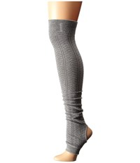 Toesox Leg Warmer Open Heel Heather Grey Women's Knee High Socks Shoes Gray