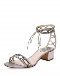 Rene Caovilla Crystal Studded 40Mm Ankle Tie Sandal Silver