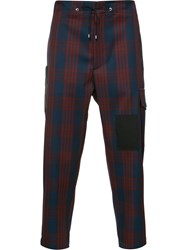 Oamc Cropped Plaid Trousers Men Cotton Cupro Virgin Wool 34 Red
