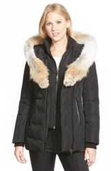 Mackage Women's Hooded Down Parka With Inset Bib And Genuine Coyote Fur Trim Black