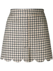 Red Valentino Scalloped Checked Mini Skirt Nude And Neutrals